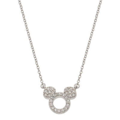 Disney Girls White Cubic Zirconia Sterling Silver Mickey Mouse Pendant Necklace