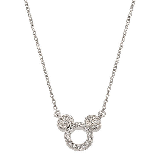 Disney Collection Girls White Cubic Zirconia Sterling Silver Mickey Mouse Pendant Necklace