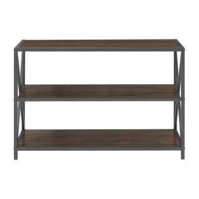 X-Frame Metal and Wood Media Bookshelf