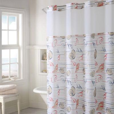Hookless Seashell Stripe Print Shower Curtain Set