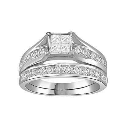 Womens 1 CT. T.W. White Diamond 14K White Gold Bridal Set