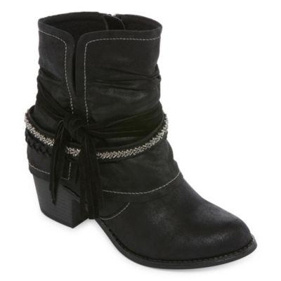 Pop Womens Matchbox Dress Boots Stacked Heel Zip