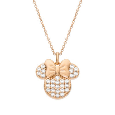 Disney Womens White Cubic Zirconia 14K Rose Gold Over Silver Sterling Silver Mickey Mouse Pendant Necklace