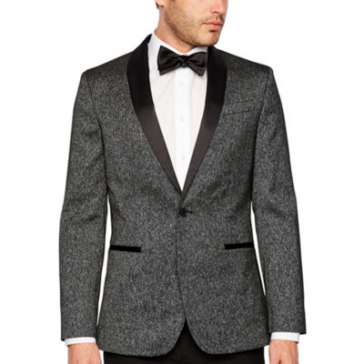 JF J.Ferrar Formal Stretch Charcoal Sparkle Slim Fit Sport Coat