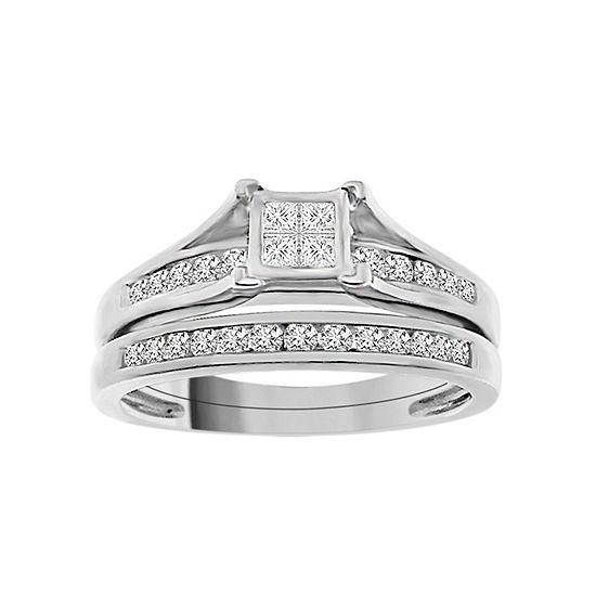 Womens 1 2 Ct Tw Genuine White Diamond Sterling Silver Bridal Set