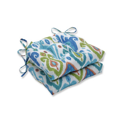 Pillow Perfect Set of 2 Paso Caribe Reversible Patio Seat Cushions