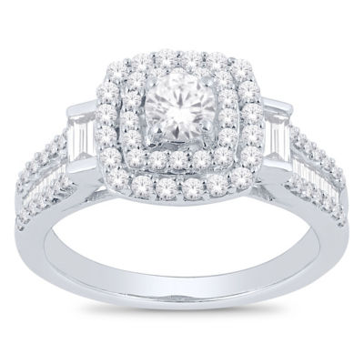 Womens 1 1/4 CT. T.W. White Diamond 14K White Gold Engagement Ring