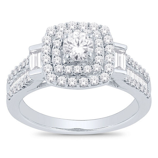 Womens 1 1/4 CT. T.W. Genuine White Diamond 14K White Gold Engagement Ring
