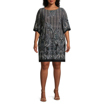 Studio 1 3/4 Sleeve Paisley Shift Dress - Plus
