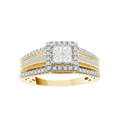 Womens 1/2 CT. T.W. Multi-Shape White Diamond 10K Gold Engagement Ring