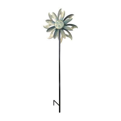 Peaktop Outdoor Floral Kinetic Dual Spinner Windmill