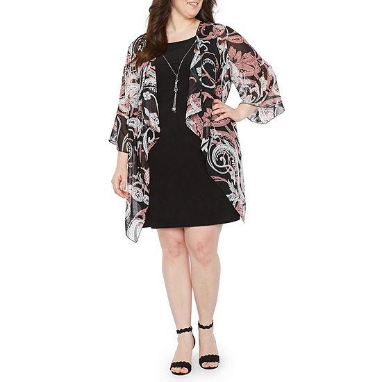 Tiana B 3 4 Flutter Sleeve Jacket Dress Plus