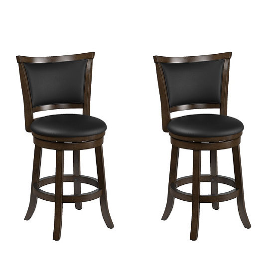 CorLiving Woodgrove Wood Counter Height Barstool with Bonded Leather Seat, Set of 2