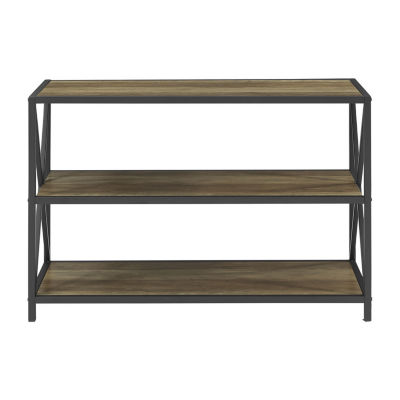 X-Frame Metal and Wood Media Bookshelf