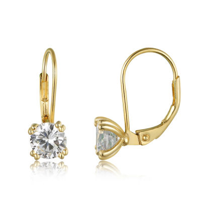 Diamonart 3/4 CT. T.W. White Cubic Zirconia 10K Gold Over Silver Round Clip On Earrings