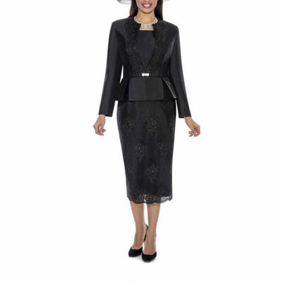 Giovanna Collection Women's Soutache Embellished Peplum 3 Piece Long Sleeve Skirt Suit