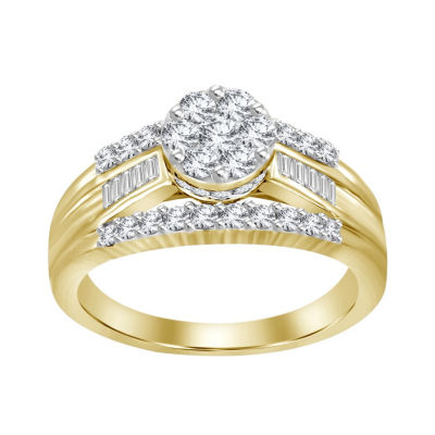 Womens 1 CT. T.W. Multi-Shape White Diamond 10K Gold Engagement Ring