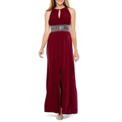 R & M Richards Sleeveless Beaded Formal Halter Gown