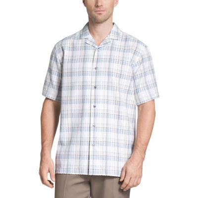 Van Heusen Mens Short Sleeve Plaid Button-Front Shirt