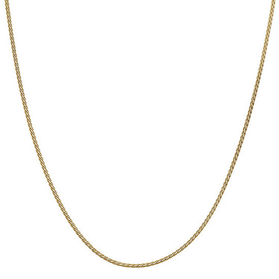 14K Gold 16 Inch Solid Wheat Chain Necklace