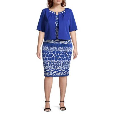 Maya Brooke Short Sleeve Jacket Dress - Plus