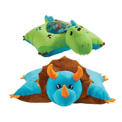 Blue Dinosaur Pillow Pet and Green Dinosaur Sleeptime Lite Slumber Pack
