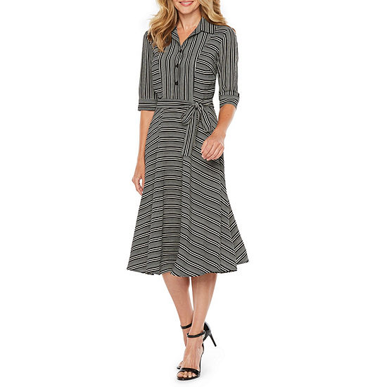 Danny & Nicole Short Sleeve Striped Fit & Flare Dress