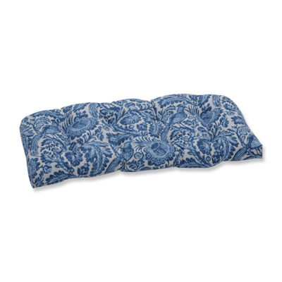 Pillow Perfect Tucker Resist Azure Wicker Patio Loveseat Cushion