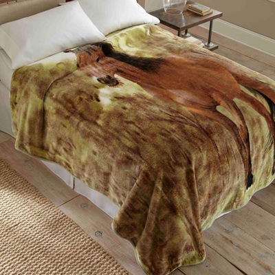 Micro Flannel Hi-Pile Impact Horse Print Raschel-Knit Coverlet/Blanket Throw