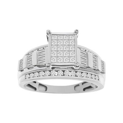 Womens 1 CT. T.W. White Diamond 10K White Gold Engagement Ring