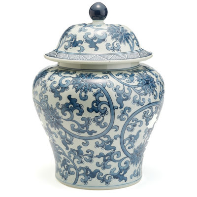 Two's Company Blue And White Lotus Flower CoveredJar