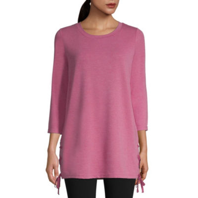 St. John's Bay Active 3/4 Sleeve Lace Up Hem Top