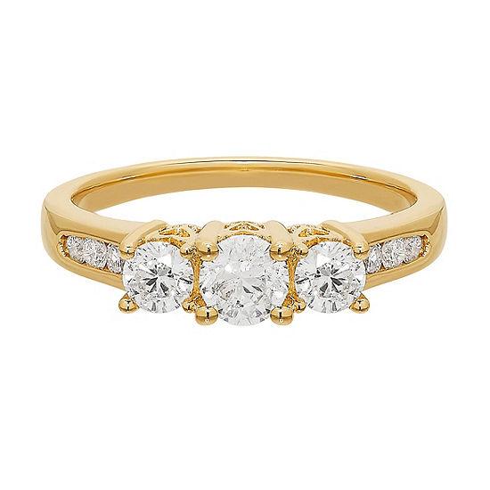 Love Lives Forever Womens 1 CT. T.W. Genuine White Diamond 14K Gold 3-Stone Engagement Ring