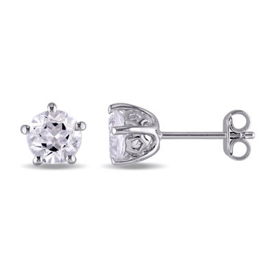 Laura Asley Genuine White Topaz Sterling Silver 6.8mm Stud Earrings