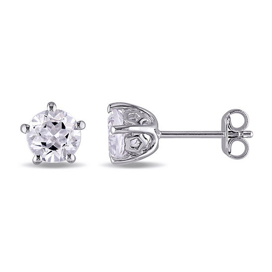 Laura Ashley Genuine White Topaz 6.8mm Stud Earrings