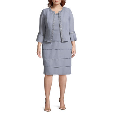 Maya Brooke Long Sleeve Jacket Dress - Plus