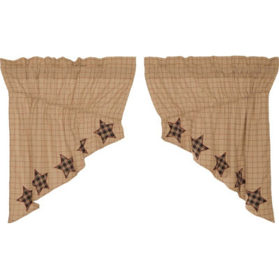 Classic Country Window Bingham Star Applique Star Prairie Swag Pair
