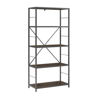 Rustic Metal and Wood Media Bookshelf