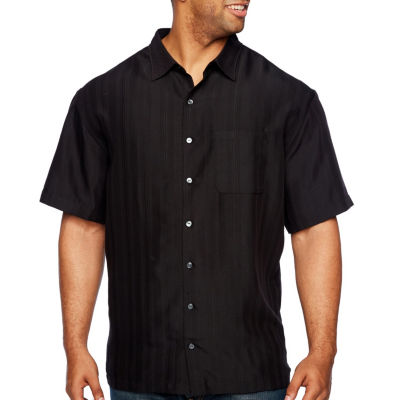 Van Heusen Poly Rayon Button Down Mens Short Sleeve Striped Button-Front Shirt Big and Tall