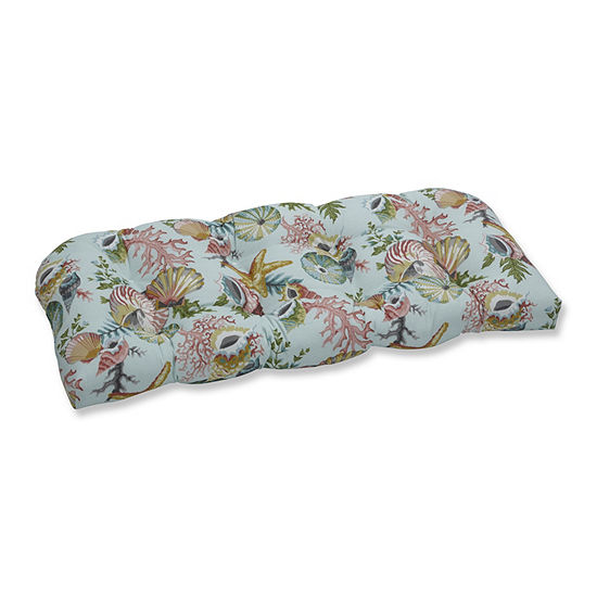 Pillow Perfect Grantoli Seamist Wicker Patio Love Seat Cushion