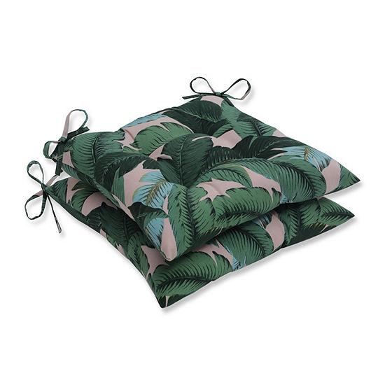 Pillow Perfect Set of 2 Swaying Palms Capri Wrought Iron Patio Seat Cushion