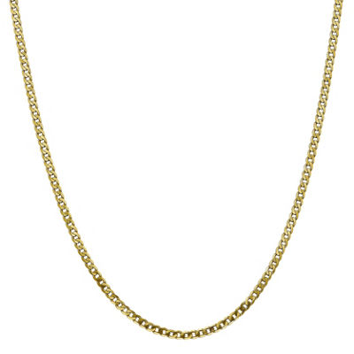 10K Gold 16 Inch Solid Curb Chain Necklace