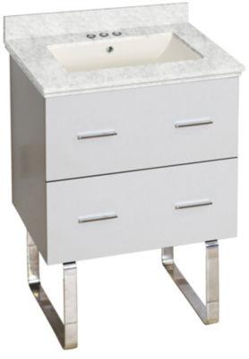 23.75-in. W Floor Mount White Vanity Set For 3H4-in. Drilling Bianca Carara Top Biscuit UM Sink