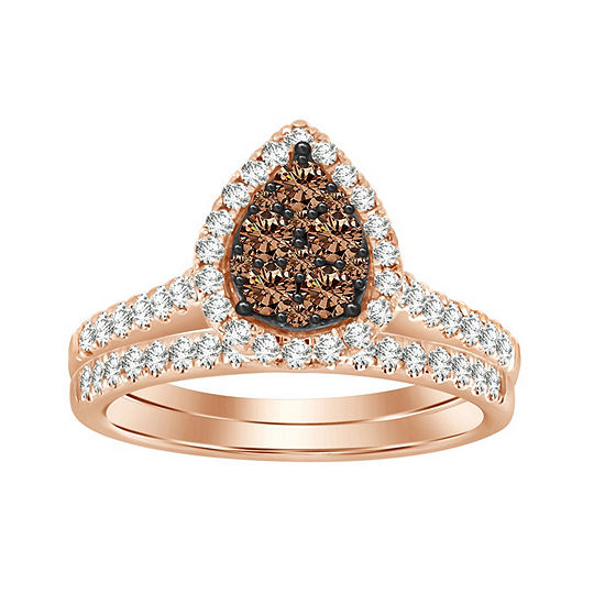 Womens 3/4 CT. T.W. Genuine Champagne Diamond 14K Rose Gold Bridal Set