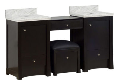 59.25-in. W 17.75-in. D Transitional Birch Wood-Veneer Vanity Base Set Only In Distressed Antique Walnut