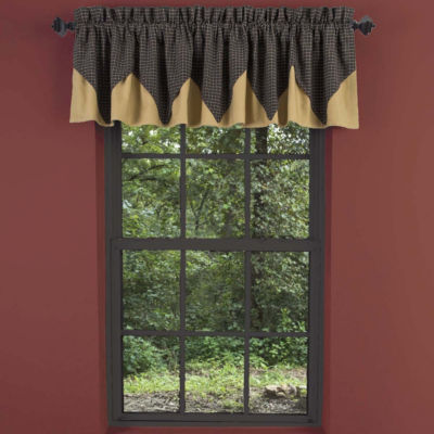 Primitive Window Kettle Grove Layered Plaid Valance