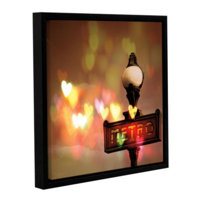Night Life Paris Floater-Framed Gallery Wrapped Canvas