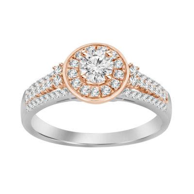 Womens 3/4 CT. T.W. White Diamond 14K Rose Gold 14K White Gold Engagement Ring