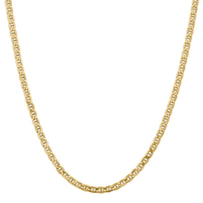 14K Gold 24 Inch Semisolid Anchor Chain Necklace