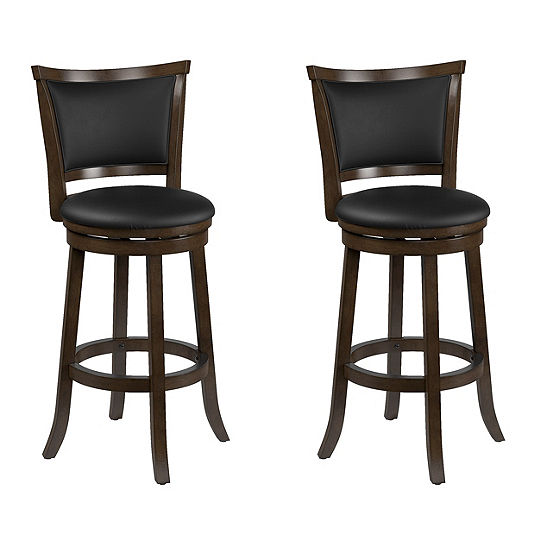 CorLiving Woodgrove Wood Bar Height Barstool with Bonded Leather Seat, Set of 2